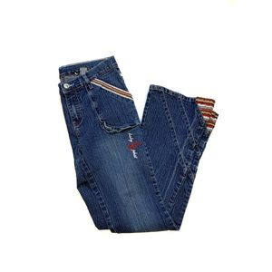 Baby Phat Flare Jeans with Patch Design Decoration